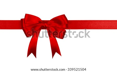 Gift red ribbon and bow isolated on white background. - stock photo