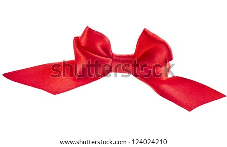 gift red ribbon bow, isolated on white