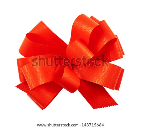 Gift ribbon glossy red bow isolated over white background - stock photo