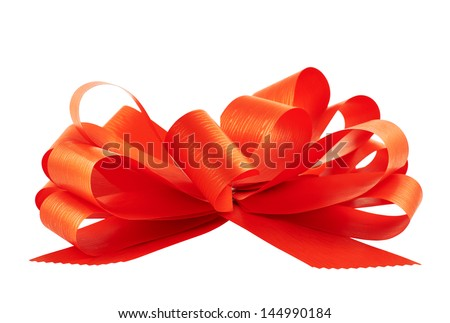Gift ribbon glossy red bow isolated over white background, side view - stock photo