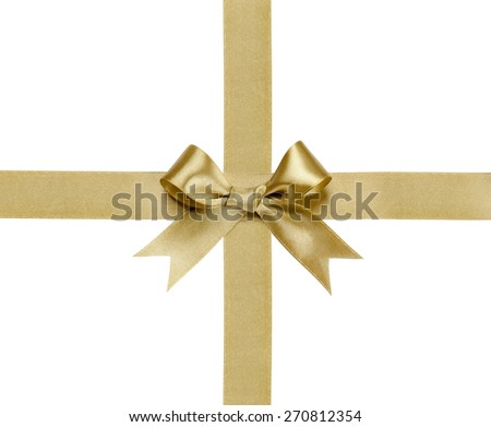 Gift ribbon with bow isolated on white background - stock photo