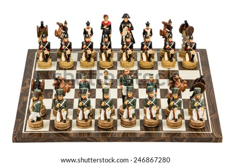Gift set decorative chess with human figures isolated on white background - stock photo