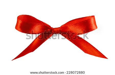 Gift silk bow of red ribbon isolated on white background  - stock photo