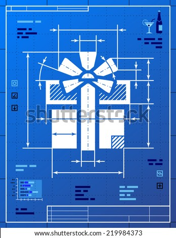 Gift symbol like blueprint drawing stylized stock illustration gift symbol like blueprint drawing stylized drafting of gift sign on blueprint paper qualitative malvernweather Gallery