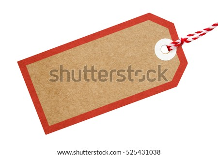 Gift tag stock images royalty free images vectors shutterstock gift tag made from brown recycled card with a border tied with red and white string negle Images
