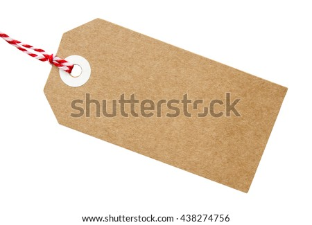Gift tag made brown recycled card stock photo 438274756 shutterstock gift tag made from brown recycled card with red and white string on on an isolated negle Images