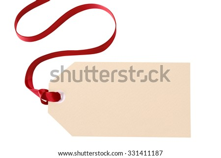 Gift tag or label with red ribbon isolated on white background