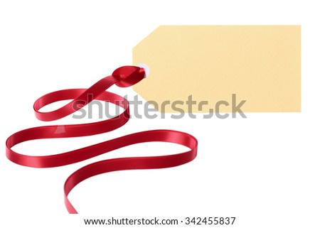 Gift tag with long curly red ribbon