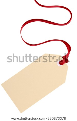 Gift tag with red ribbon isolated on white vertical
