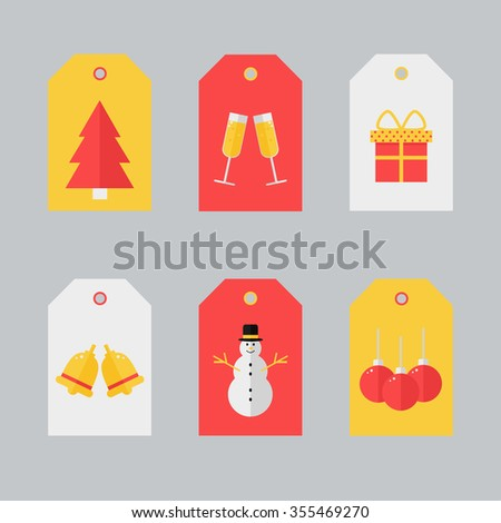Gift tags design with christmas elements. Holiday labels in vintage yellow and red colors. Seasonal badge design. Cute gift tags for christmas presents. Flat style illustration. - stock photo