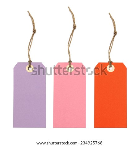 Gift tags or price tags in pink, purple and red - isolated on white - stock photo