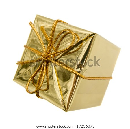 Gift to Christmas as a brilliant box isolated on white - stock photo