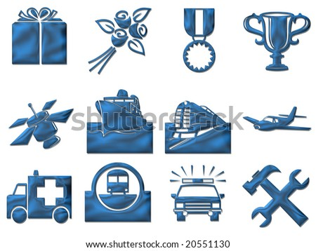 Gift, transport and travel signs - stock photo