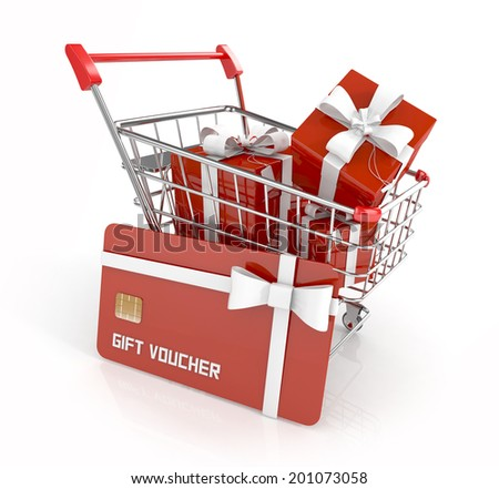 gift voucher, gift card with gift boxes and white ribbon in shopping cart, isolated on white background. 3d render - stock photo