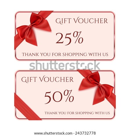 Gift voucher template with red ribbon and a bow - stock photo