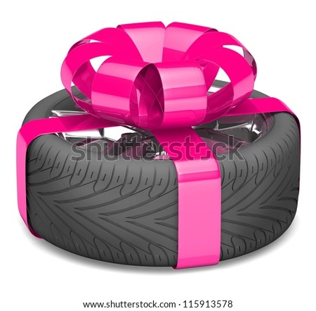 gift wheel, tied with a pink ribbon as a gift. illustration on white. - stock photo