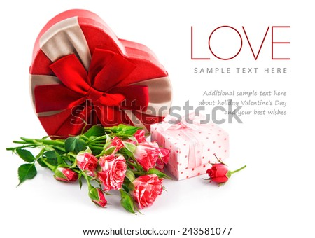 Gift with bunch roses on valentines day. Isolated on white background