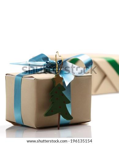 Gift with christmas tree - stock photo