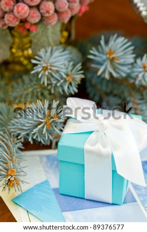 gift with fir leaf