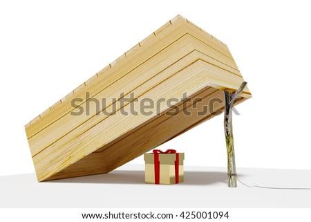 Gift Woodenbox case, 3D Illustration - stock photo