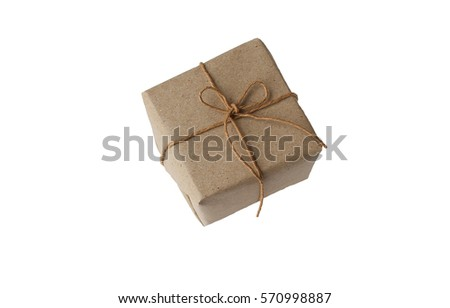 gift wrapped in plain paper on a white background
