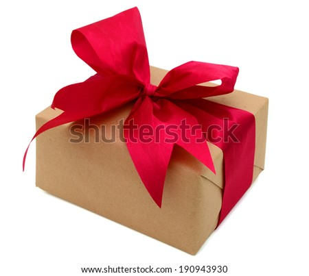 Gift wrapped red ribbon with bow, isolated on white, greetings day - stock photo