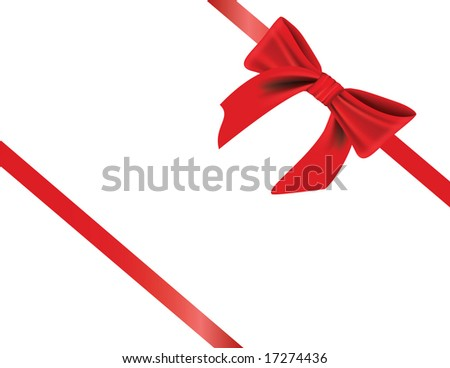 Gift wrapped with elegant red bow, with realistic shading