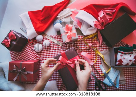 Gift wrapping for Christmas and New Year. Handmade. - stock photo