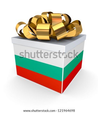 Giftbox with bulgarian flag.Isolated on white background.3d rendered.
