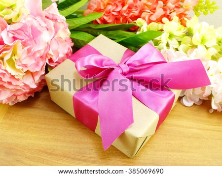gifts and beautiful bouquet of flowers for mom for mother day or birthday