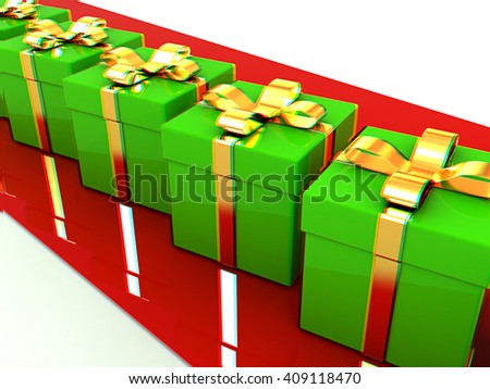 gifts box. 3D illustration. Anaglyph. View with red/cyan glasses to see in 3D. - stock photo