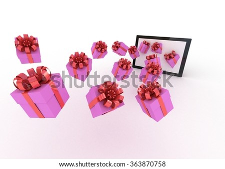 Gifts box fly in tablet computer - stock photo