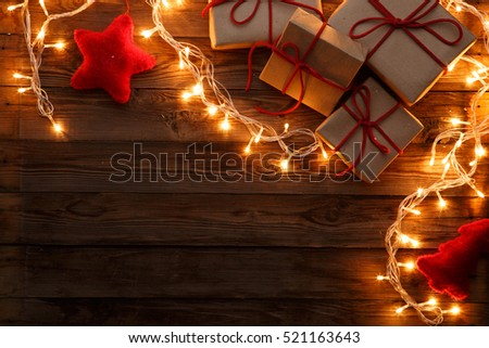 Gifts boxes on brown background