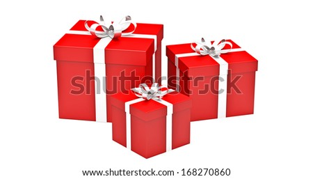 gifts boxes  on  white background