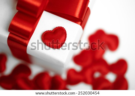 Gifts boxes with textile hearts, valentines day concept. studio shot - stock photo