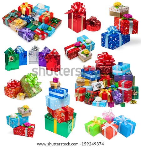 Gifts collection on white background - stock photo