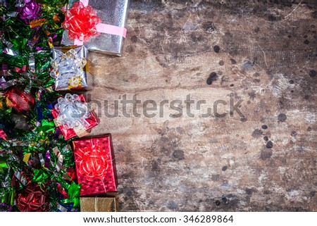 gifts decoration with christmas tree on wood