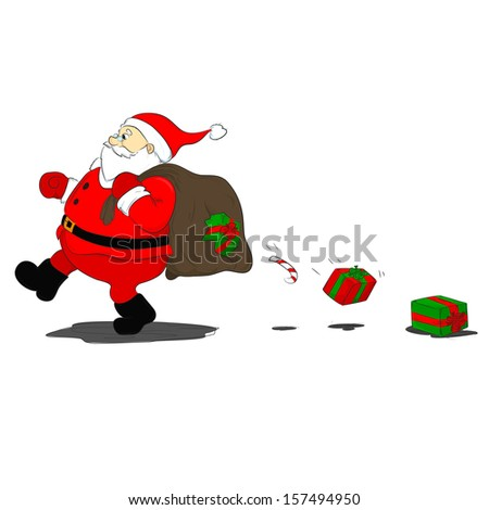 gifts fall out of the bag ripped Santa Claus