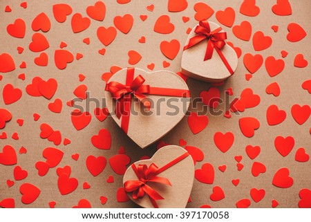 Gifts for lovers on Valentine's Day. Heart background.