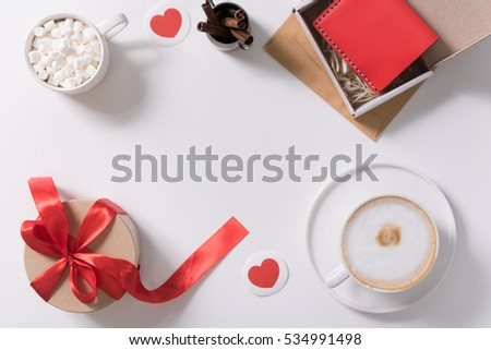 Gifts for Valentines Day lying on the table