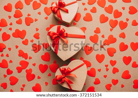 Gifts. Heart background.