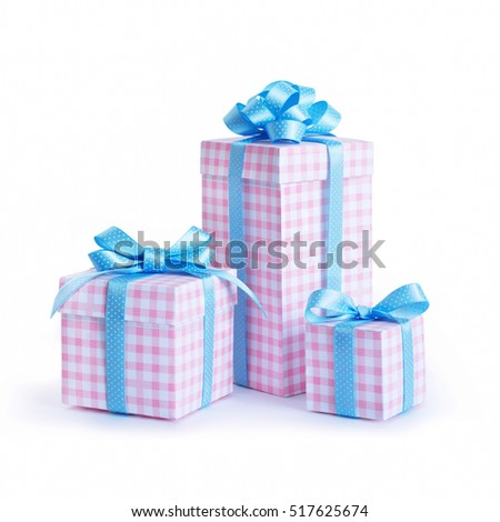 Gifts in a beautiful and elegant package isolated on a white background