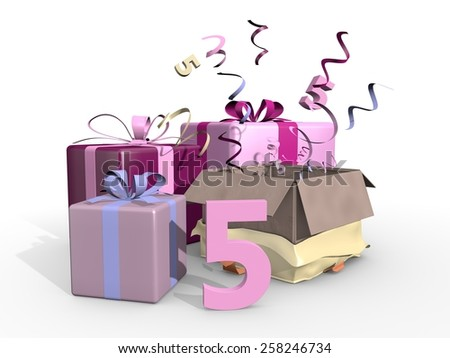 Gifts in pink tones for the fifth - stock photo