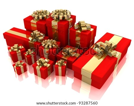 Gifts isolated on white.