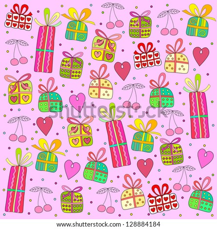 gifts on a pink background - stock photo