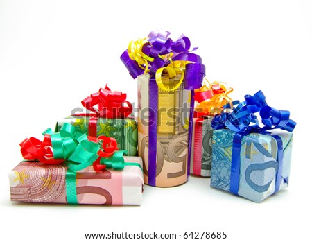 Gifts packed in euro bills