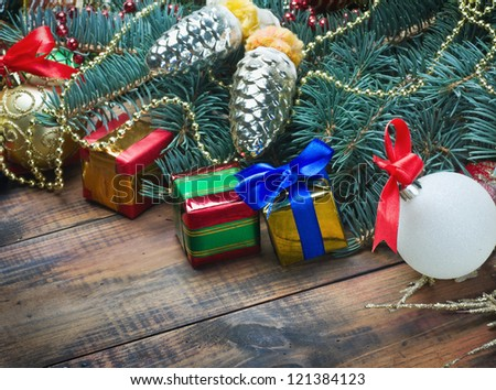 gifts under the Christmas tree and decorations