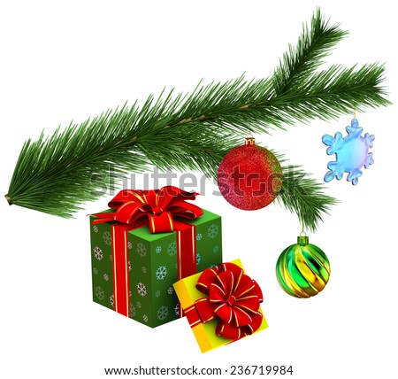 Gifts with Christmas tree fir branch decorated of christmas balls on white background - stock photo