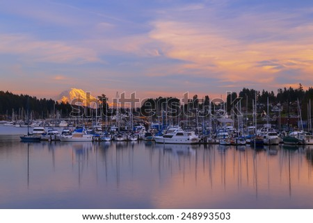 Gig Harbor at Sunset. Gig Harbor, WA USA - January,20 2015. Gig Harbor is a popular tourism destination on Puget Sound.