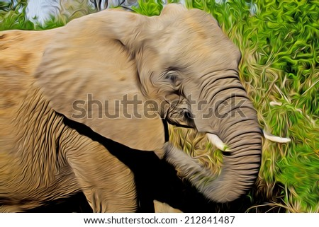 Gigantic male african elephant in the Kruger National Park, South Africa,  stylized and filtered to look like an oil painting